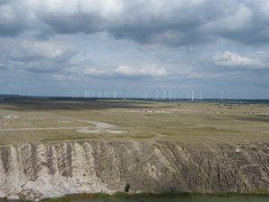 Blick zum Windpark am Kraftwerk Jänschwalde